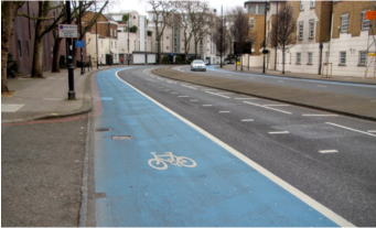 A cycle lane in London